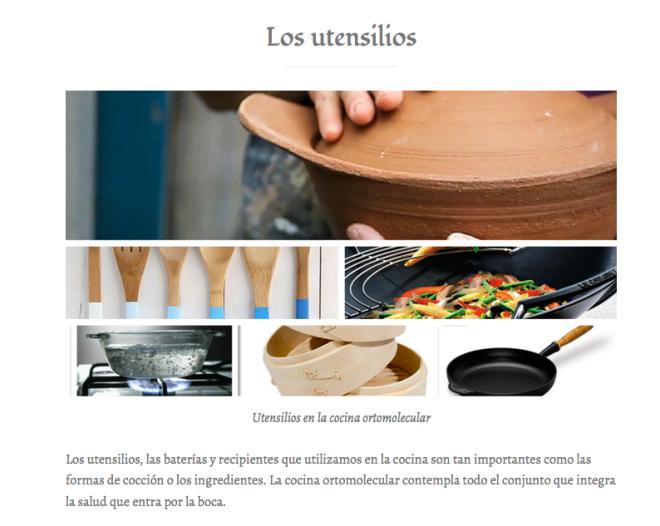 Utensilios en la cocina ortomolecular